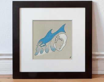 Picture original-Fish, woman, sea, water, sea-plain & elegant-grey, blue, white