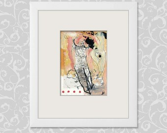 Original image, abstract and figurative art / contemporary painting-drawing