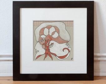 Drawing, original art 15/15 cm (5.9/5.9 inch)