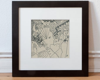 H. Barghorn 15/15 cm (5.9/5.9 inch) hand drawn
