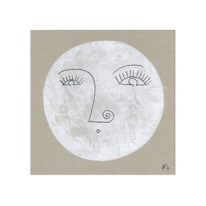 Ongebruikt Mevrouw maan gezicht portret afbeelding schilderij tekening | Etsy II-87