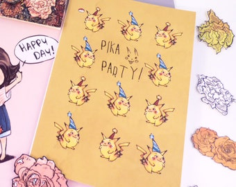 Pikachu birthday card- Happy Birthday Card - Celebration Card - Congratulations Card - card for brother son - party invitation