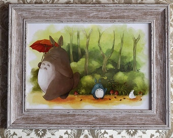 Totoro Studio Ghibli poster, My Neighbor Totoro gift, woodland nursery, watercolour print, Hayao Miyazaki