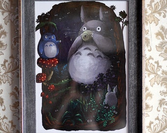 My Neighbour Totoro poster, Studio Ghibli art gift, Totoro print, kid room decor