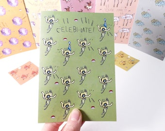 Celebi - Happy Birthday card - Celebration greeting card - Pokemon - graduation card - congratulations card - you passed card