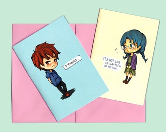 Thank you card - girlfriend card - boyfriend card  - I love you card - cute card for him for her - best friend card - for him for her, blue