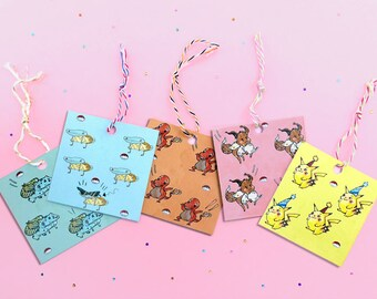 Pokemon gift tag - cute tag - Pikachu birthday tag - Pokemon gift wrap - Pokemon gift tag - thank you tag - Eevee - Charmander - Squirtle