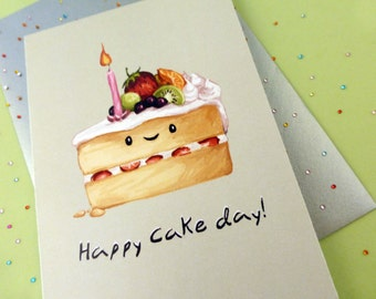 HAPPY Cake Day Greeting Card. BLANK. Happy Birthday/ Celebration/ For Her/ Congratulations/ Graduation/ Wedding/ Kawaii Food/ Cute Card.