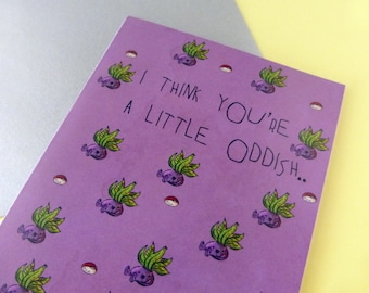 You're Oddish sarcastic card - rude card - snarky card - offbeat card - retro card - i love you card - strange card - insult card