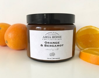 Orange & Bergamot Scented Soy Candle - 15 oz