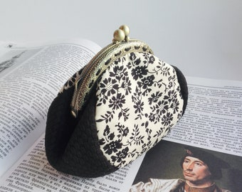 Coin Purse Clasp Kiss Lock Frame Purse Black Flowers Pattern