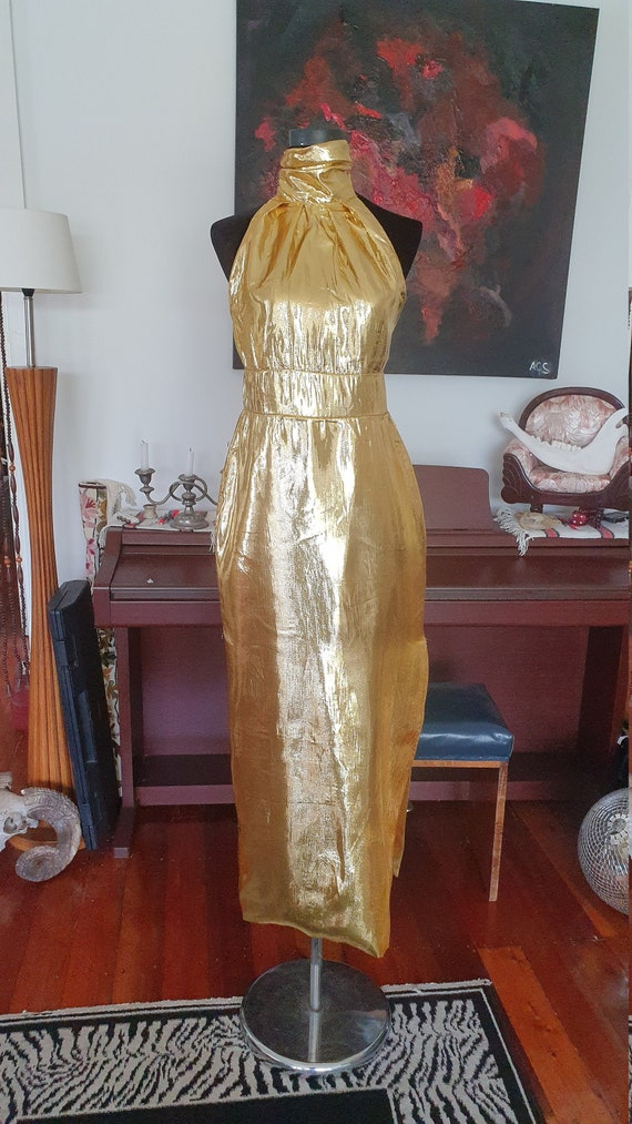 Metallic Gold Disco 1970's Gown Halter neck with T