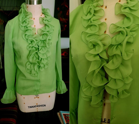 Rare Groovy 1960's Ruffled Poet Blouse Neon Green