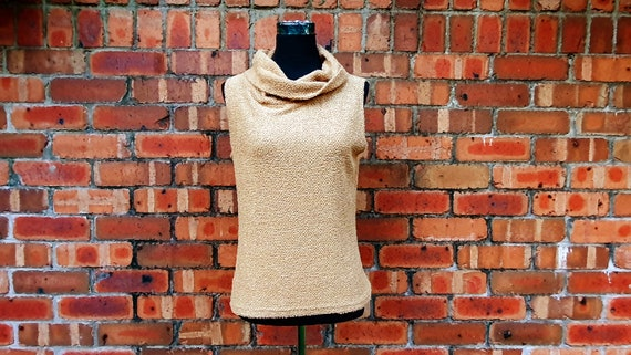 Neutral Beige 1990's Top with Fluffy Tinsel Knit S