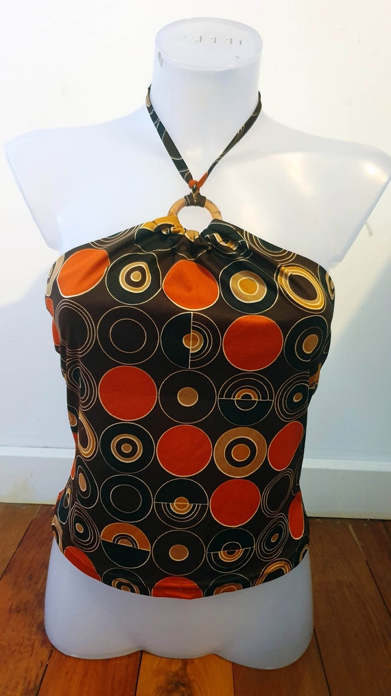 Mod Style Groovy Stretch Brown and Orange Halterne