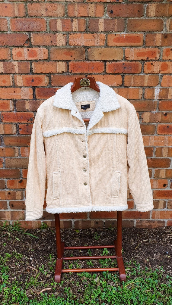 1990's Beige Corduroy and Fleece Lined Square Cut
