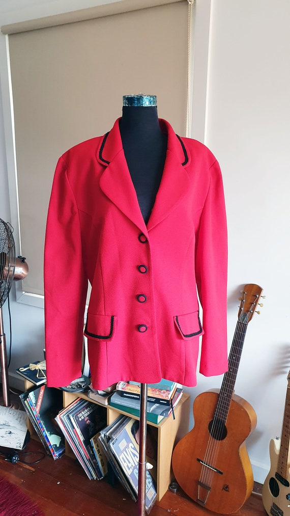 Incredible 1980's Power Dressing Red and Black Jac