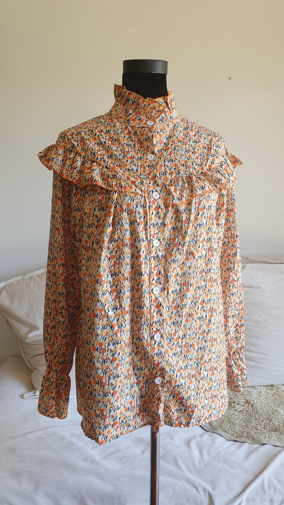 Ruffled Prairie Hippy Floral 1970's Blouse with Au