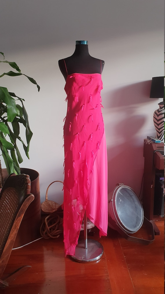 Hot Pink 1990's Dreamy Evening Formal Dress with T