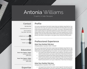 Professional Resume Template, CV Template, Cover Letter, US Letter, A4, Word, Modern Simple Professional Resume, Instant Download, 'ANTONIA'