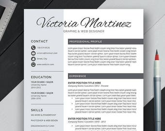 Resume Template, Cover Letter, Compatible With Office Word Mac & Windows, Letter size, A4, Digital Instand Download, CV Template, Victoria