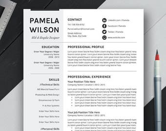 Professional Resume Template, CV Template, Cover Letter, MS Word, Mac, PC, Creative Modern Simple Teacher Resume, Instant Download, Pamela