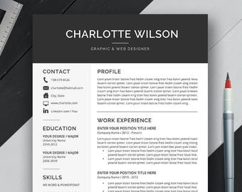 Professional Resume Template, CV Template, Cover Letter, MS Word, For Mac PC, Simple Modern Creative Resume, Instant Download, Charlotte B2