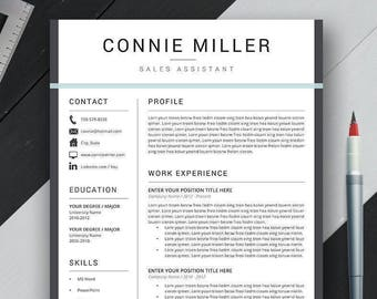 Resume Template with Cover Letter & References for Office Word, Mac, PC, Instant Download, Creative Simple Modern Teacher Resume, Connie