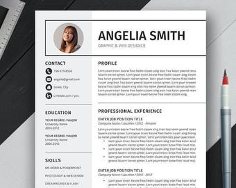 Professional Resume Template, Cover Letter, CV Template, US Letter, A4, Word, Simple, Modern, Creative Resume, Instant Download, 'ANGELIA'