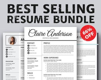 Resume Templates, Professional Resume, Cover Letter, Creative Modern Office Word Resume Bundle, CV Templates, Instant Download, Claire RB