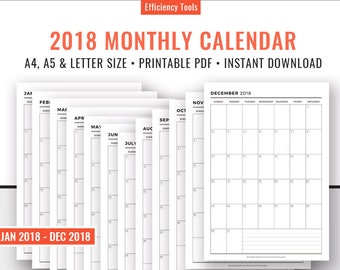 2018 Monthly Calendar, Montyly Planner, Planner Inserts, Filofax A5, Kikki K Large, Planner Refills, Printable PDF, A4, A5, Letter Size