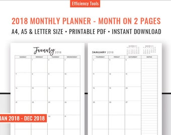 2018 Monthly Planner, 2018 Monthly Calendar, Month On 2 Pages, Planner Inserts, Filofax A5, Kikki K Large, Printable PDF, A4 A5, Letter Size