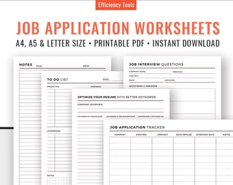 Job Application Tracker, Job Interview Questions Planner, To Do List, Notes. Job Application Worksheets. Planner Inserts. Printable PDF