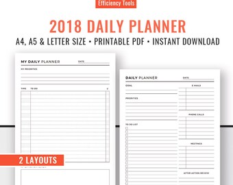 2018 Daily Planner, Printable Planner, Planner Binder, Planner Inserts, Planner Refills, A5, A4, Letter Size, Filofax A5, Instant Download