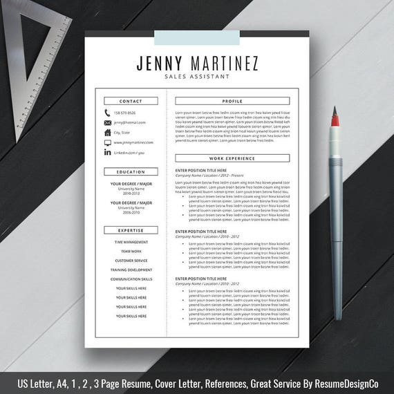 Resume Template CV Template, Cover Letter, US Letter, A4, Word,  Professional, Creative, Modern Resume, Instant Digital Download, \'JENNY\'