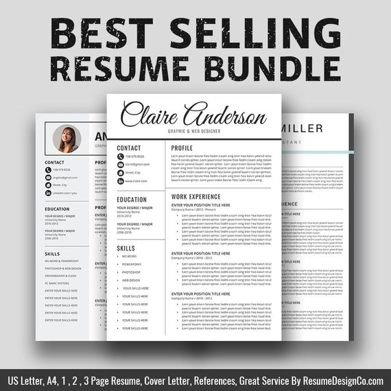 2019 Resume / CV Templates Bundle, Cover Letter, Graduate Professionals  Modern Office Word Resume, CV Templates, Instant Download, Claire RB