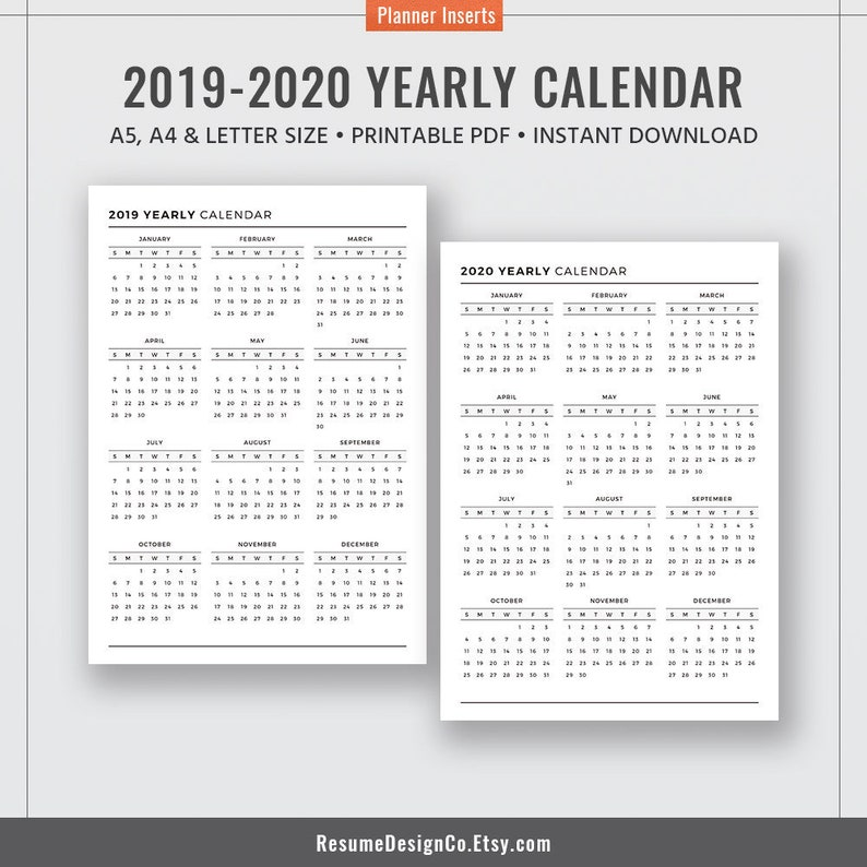 Calendario Capelli 2020.2019 2020 Annuale Calendario 2019 Planner Inserti Raccoglitore Planner Stampabile A4 Formato Lettera Filofax A5 Kikki K Grande Instant