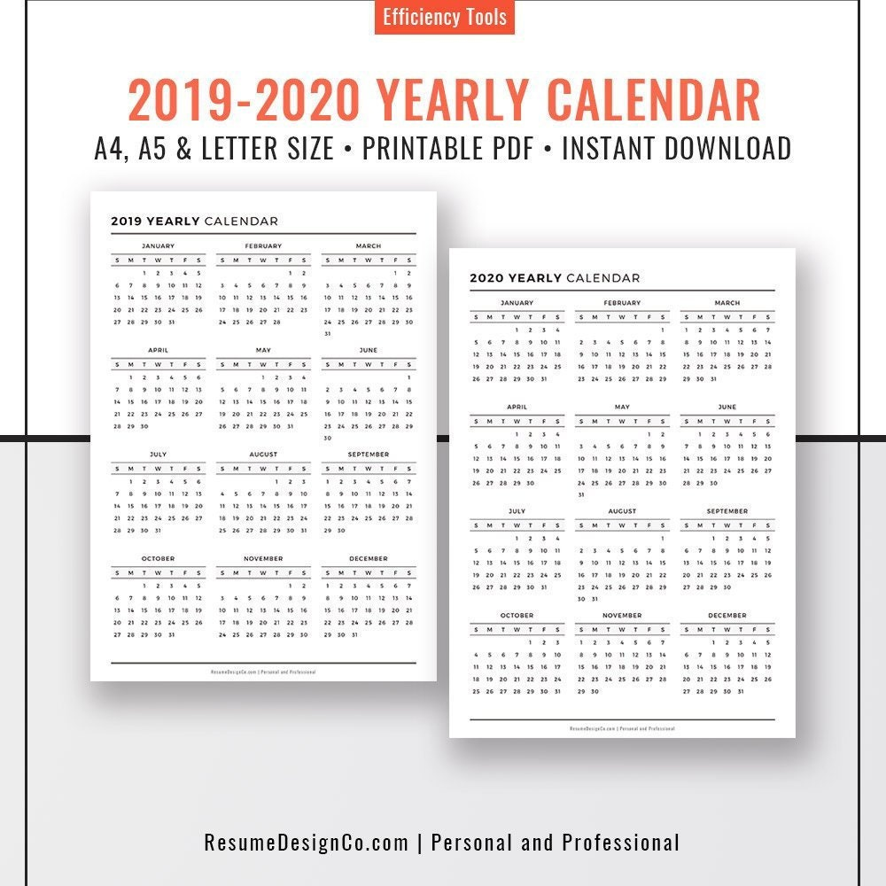 2019 2020 Yearly Calendar 2019 Planner Inserts Binder