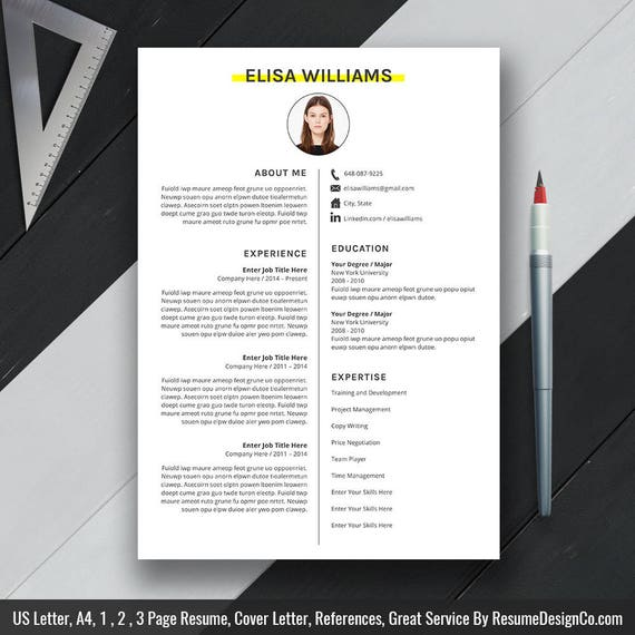 Professional Resume Template, Cover Letter, CV Template, MS Word, Creative  Resume Design, 1, 2, 3 Pages Resume, Instand Download, Elisa