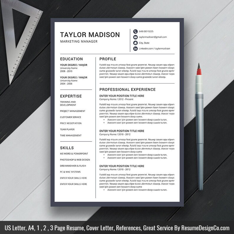 2019 Resume Template Cv Template Cover Letter Graduate Student Resume Ms Word Instand Download Etsy Best Selling Resume Taylor