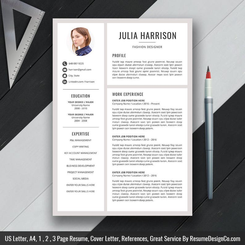 Modern Resume Template, Resume Design, Cover Letter, Office Word, CV  Template, Professional Resume, Creative Reume Template, Download, Julia