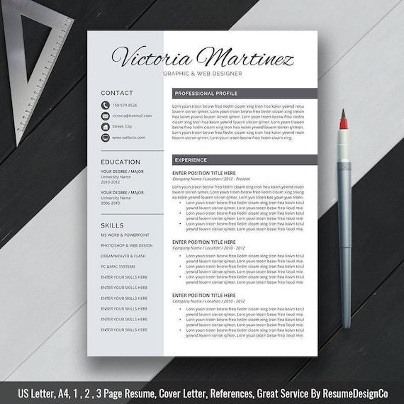 Professional Resume Template Word Cover Letter Modern Cv Etsy