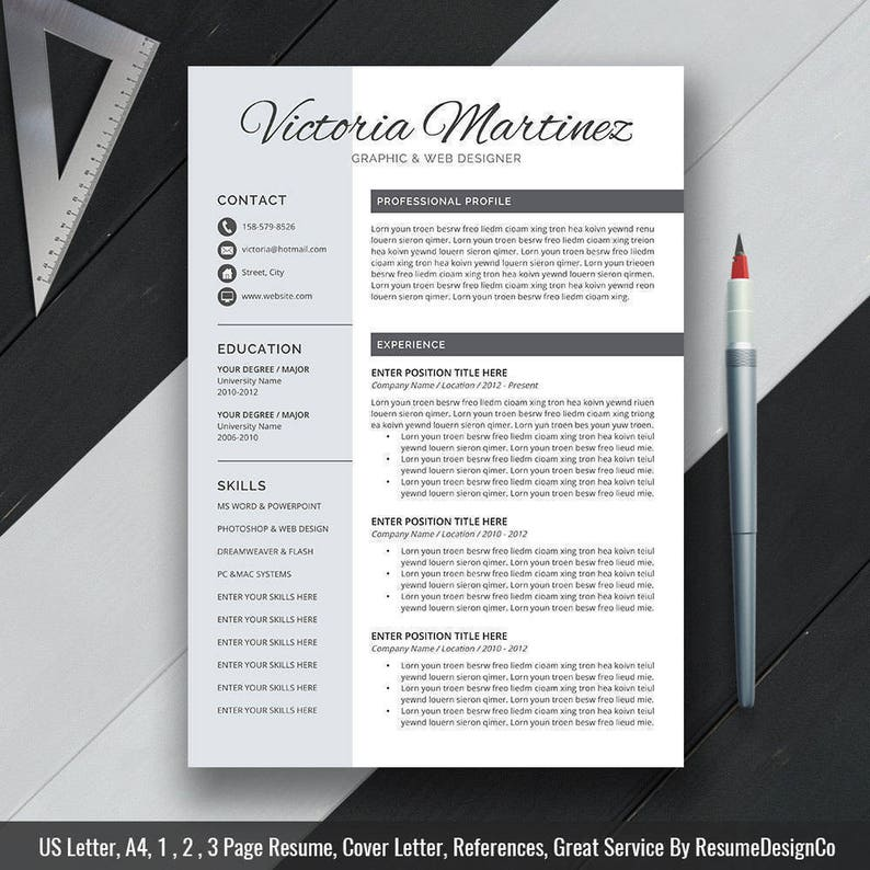 Resume Template 2019 Cv Template Cover Letter Modern Resume Professional Clean Resume Ms Office Word Instand Download Victoria