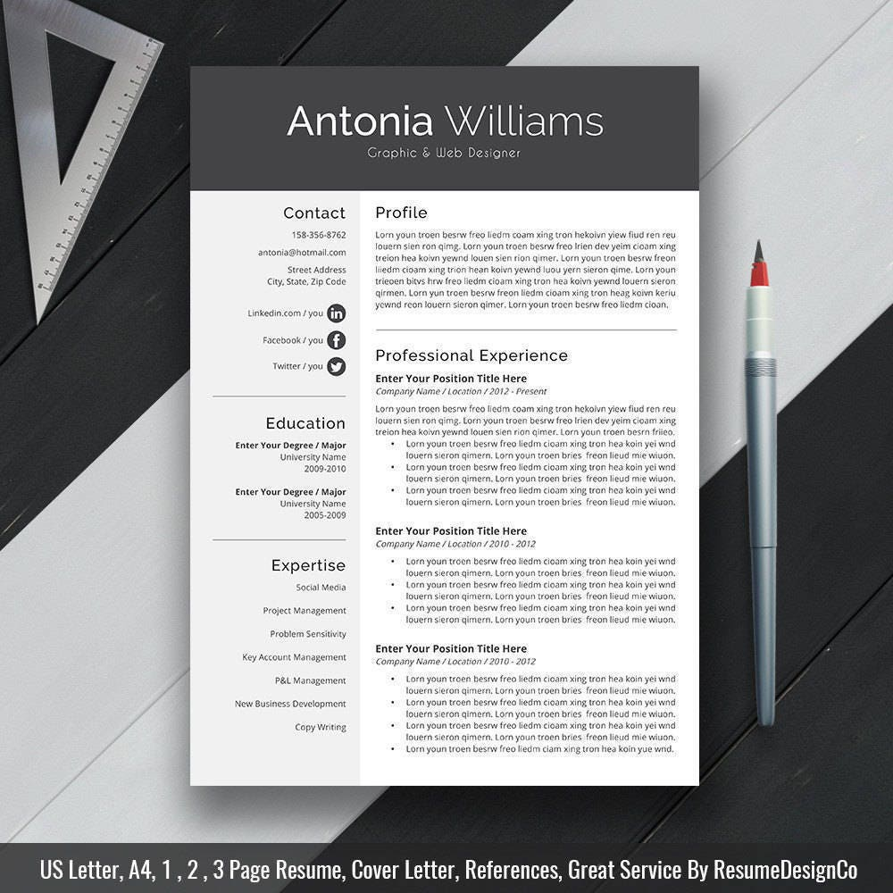 professional resume template cv template cover letter us
