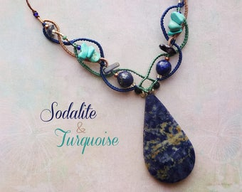 """""""Sodalite & Turquoise -"""" water lily fine macrame jewelry pendant necklace"""