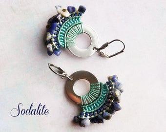 """Earrings """"Sodalite"""" - water lily fine macrame jewelry"""