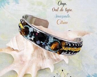 """Bracelet """"onyx, Tiger eye, amazonite"""" Sweety - jewelry water lily fine macrame"""