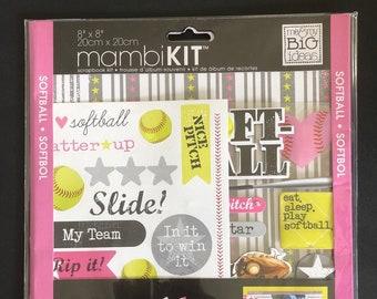 "MAMBI 8"" x 8"" Scrapbook Kit - Softball"