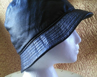29c6937d4ae Italian leather bucket rain hat by D. Meucci of Florence    black leather bucket  hat
