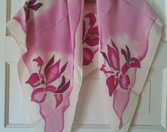 Artisan triangle silk orchid shawl, signed by artist // hand painted, orchid flowers, triangular, unusual shape, crepe textured silk